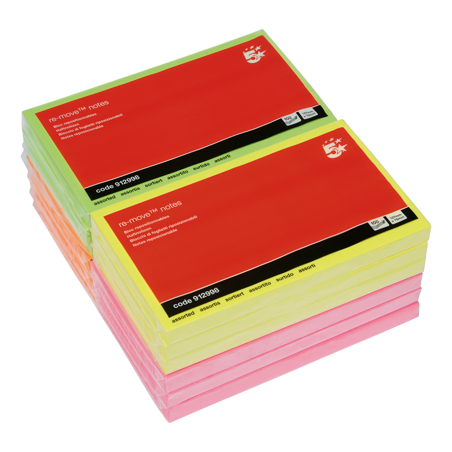 5 Star Office Re-Move Notes Repositionable Neon Pad of 100 Sheets 76x127mm Assorted Pack 12