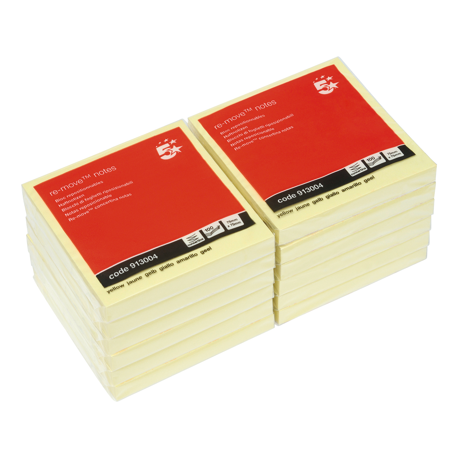 Z Notes 5 Star Office Re-Move Notes Concertina Pad of 100 Sheets 76x76mm Yellow Pack 12