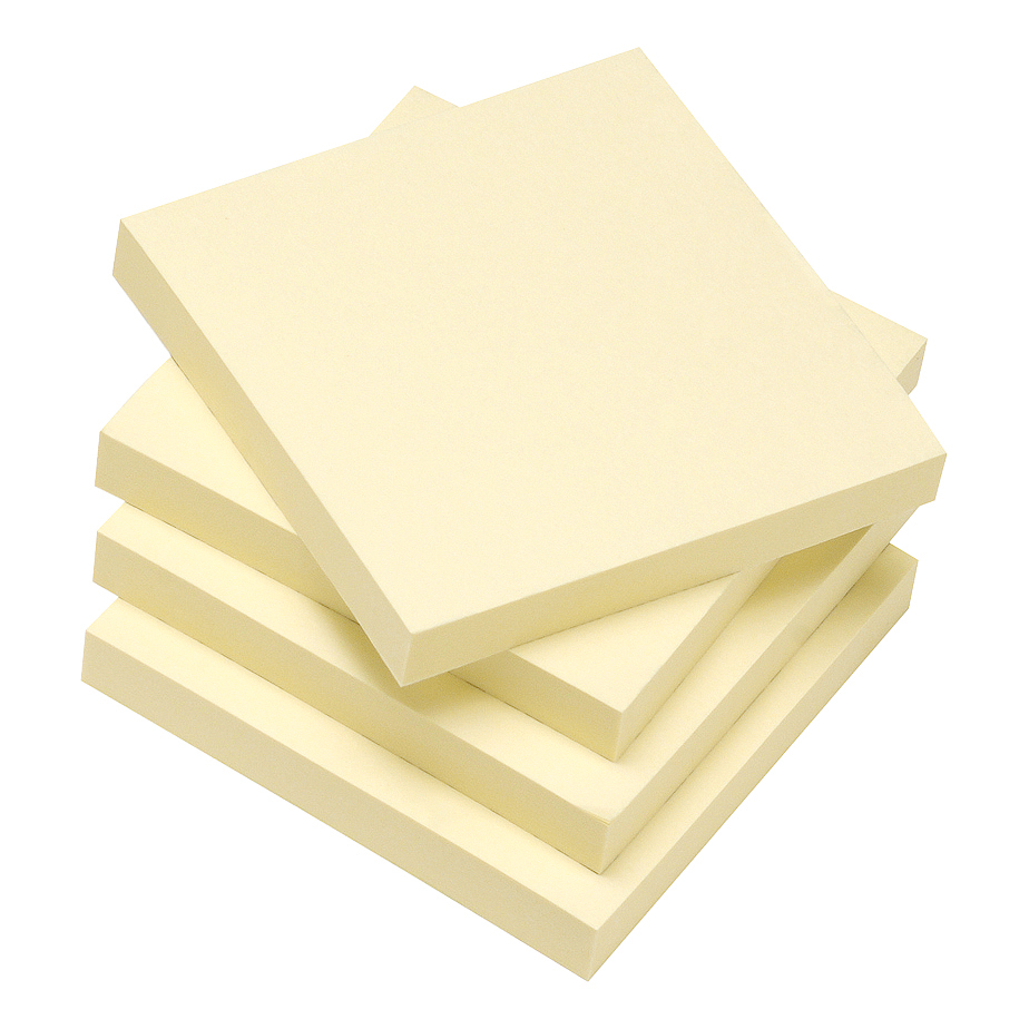 Recycled 5 Star Eco Re-Move Recycled Notes Repositionable Pad of 100 Sheets 76x76mm Yellow Pack 12