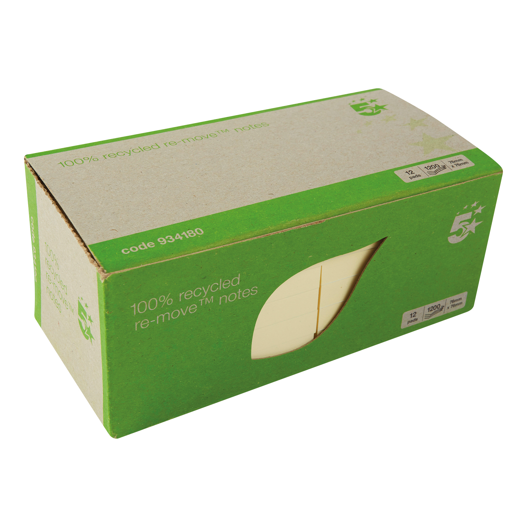 5 Star Eco Re-Move Recycled Notes Repositionable Pad of 100 Sheets 76x76mm Yellow Pack 12