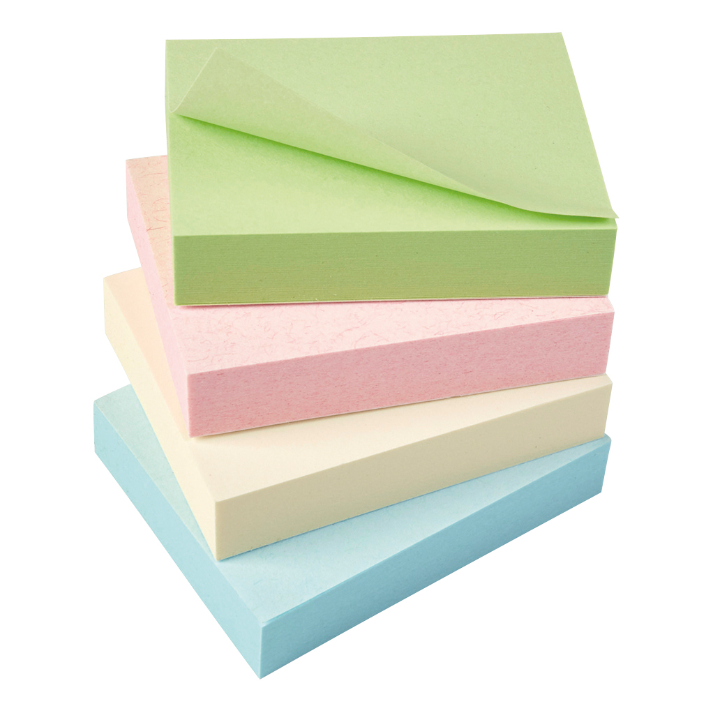 Self adhesive note paper 5 Star Eco Recycled Notes 38x51mm Re-Move Pastel Pack 12