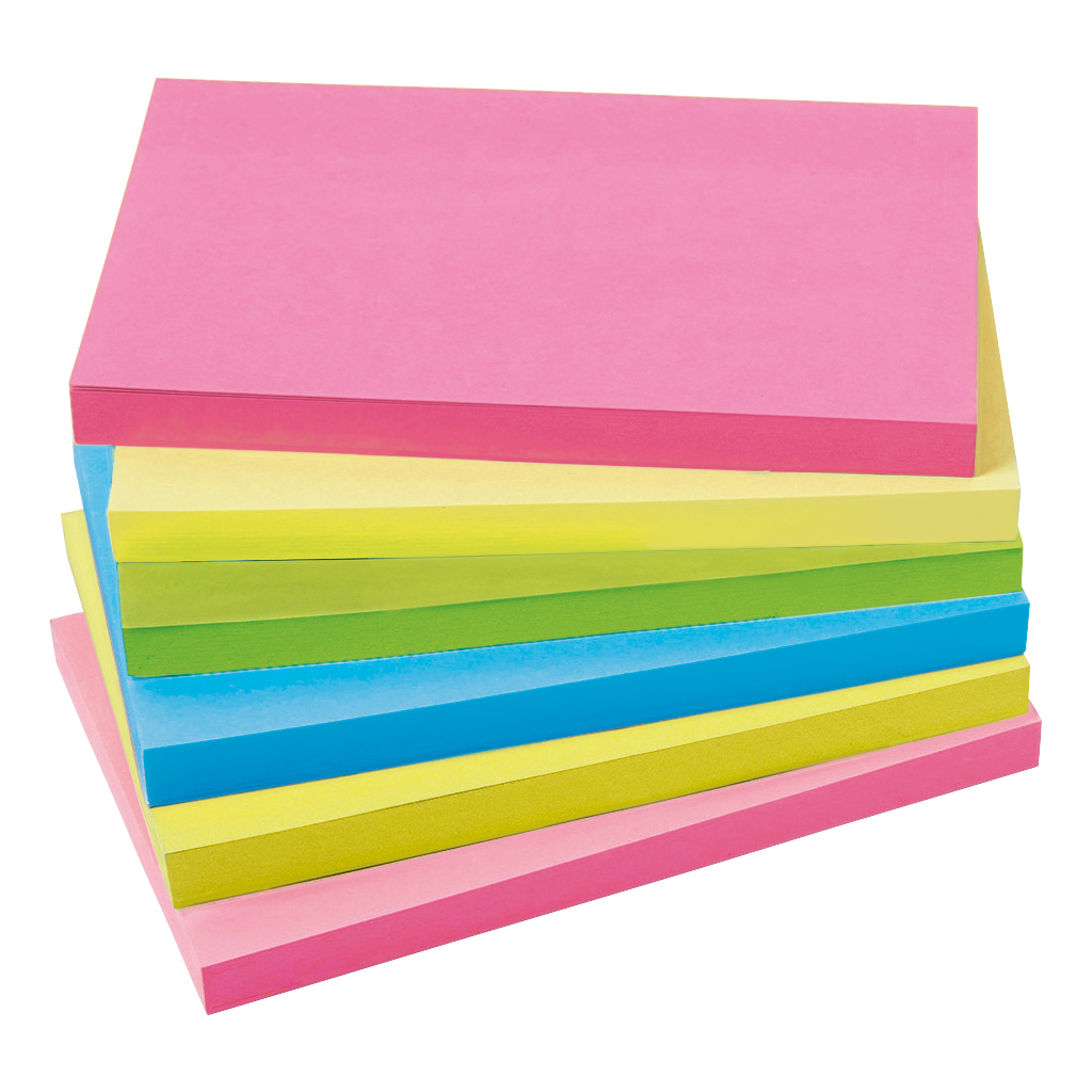 Coloured 5 Star Office Extra Sticky Re-Move Notes Pad of 90 Sheets 76x127mm 4 Assorted Neon Colours Pack 6
