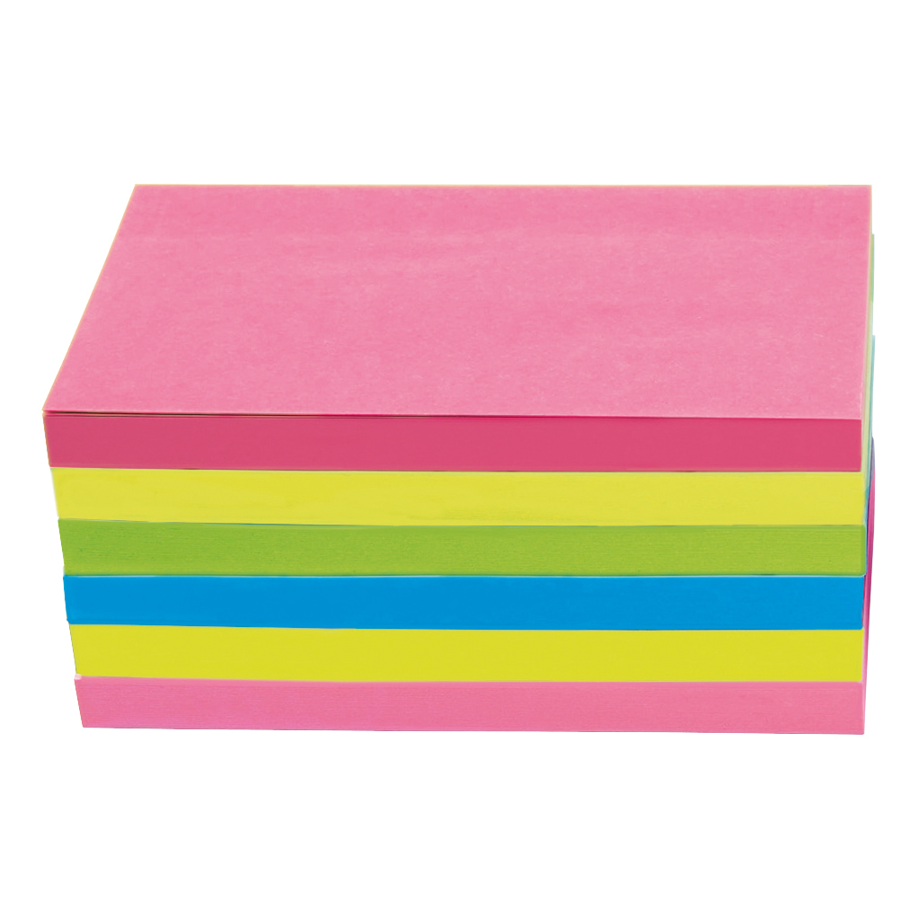 5 Star Office Extra Sticky Re-Move Notes Pad of 90 Sheets 76x127mm 4 Assorted Neon Colours Pack 6