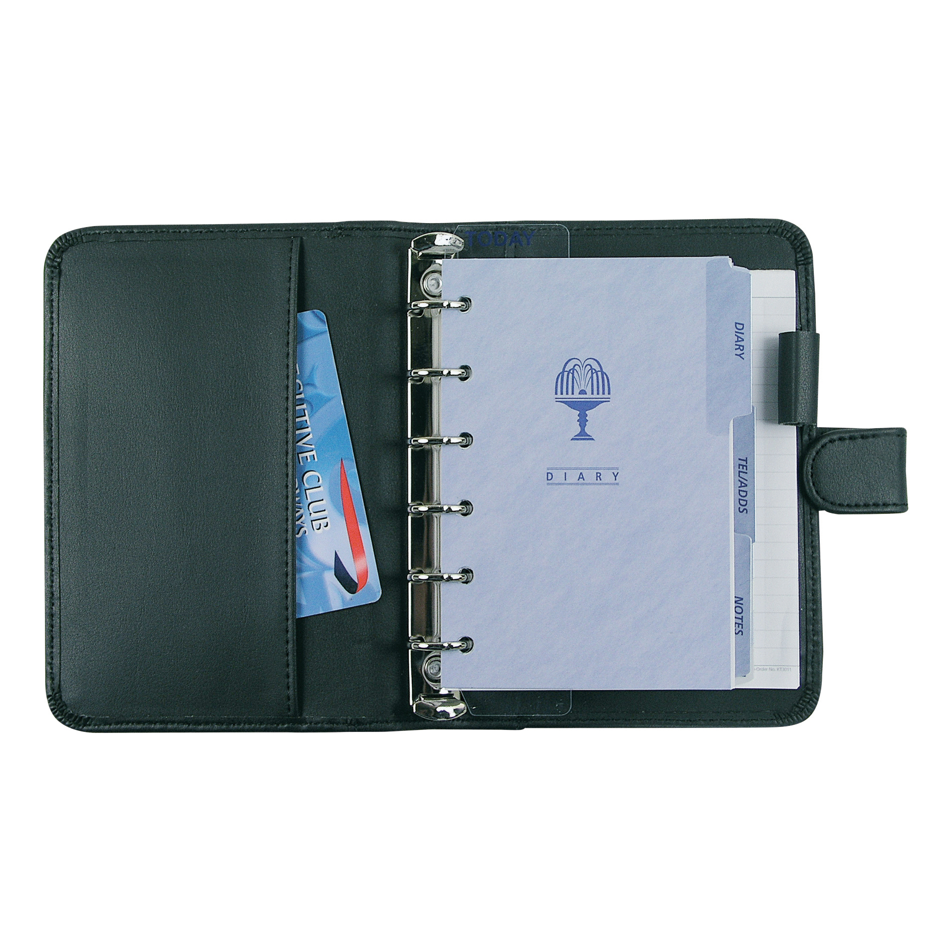 Collins Chatsworth Pocket Organiser Padded Faux Leather With Diary Insert 120x81mm Black Ref KT2999