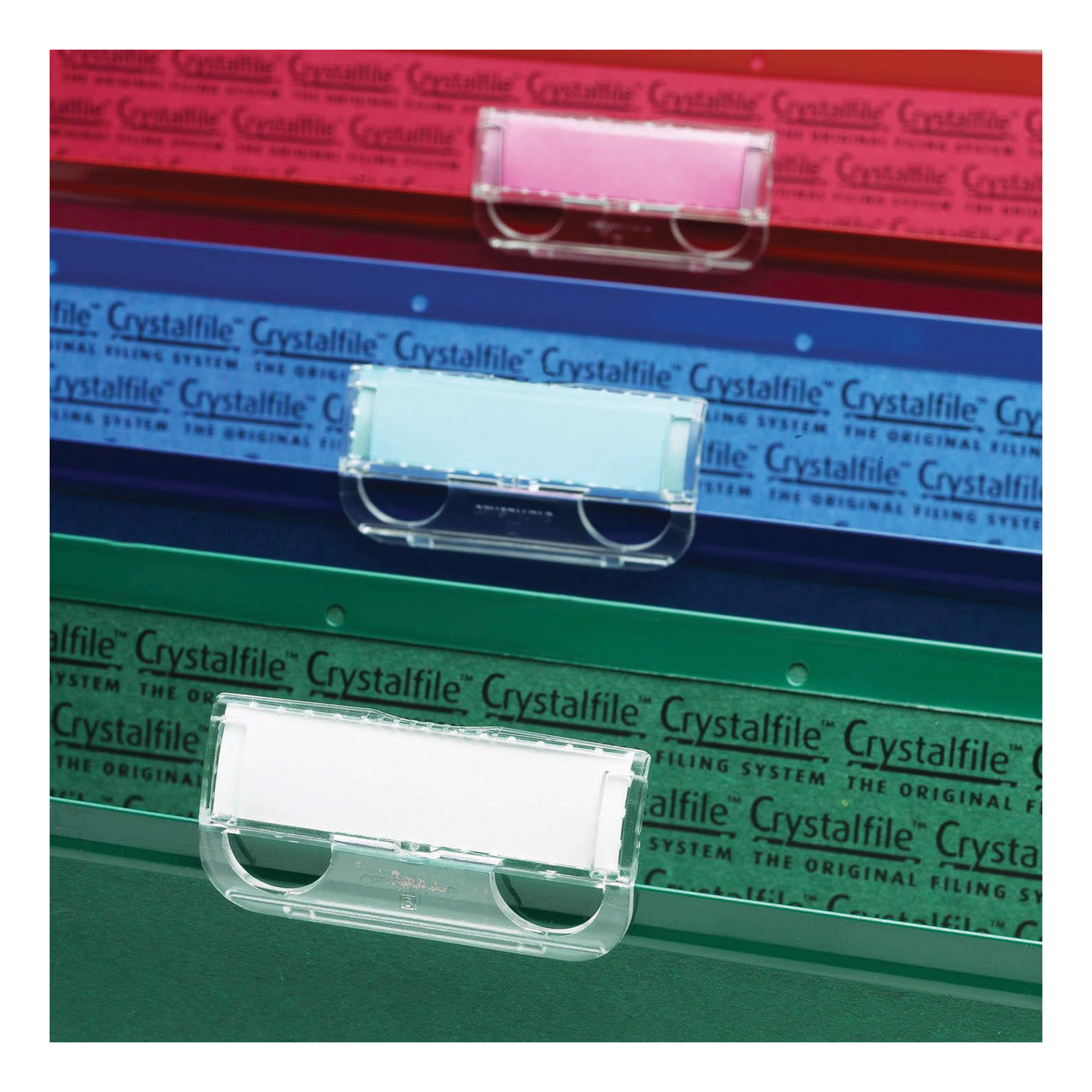 Rexel Crystalfile Classic Plastic Tabs for Suspension File Clear Ref 78020 [Pack 50]