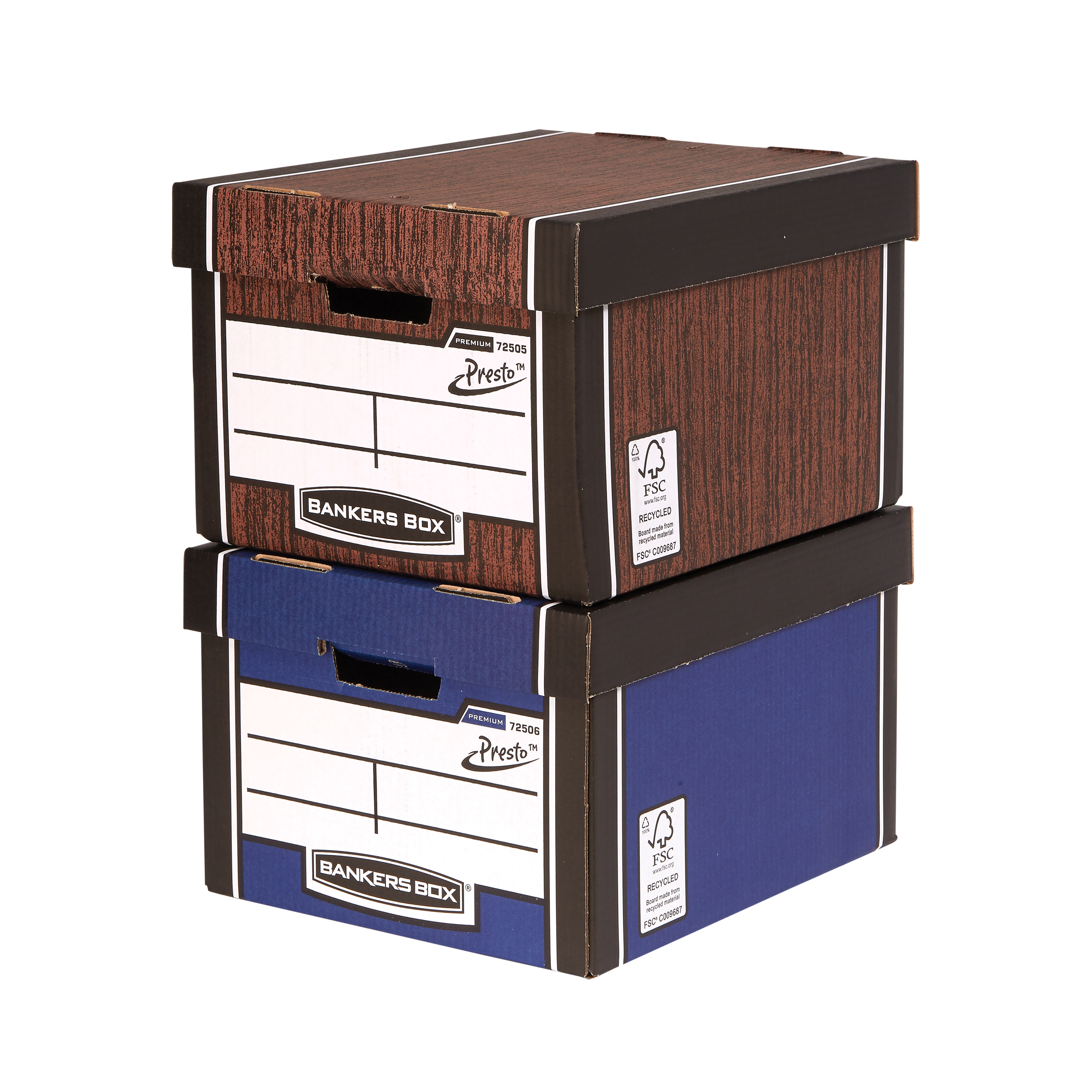 Storage Boxes Bankers Box Premium Storage Box Presto Clsc W/grain FSC Ref7250503 Pack 12 12 for the price of 10