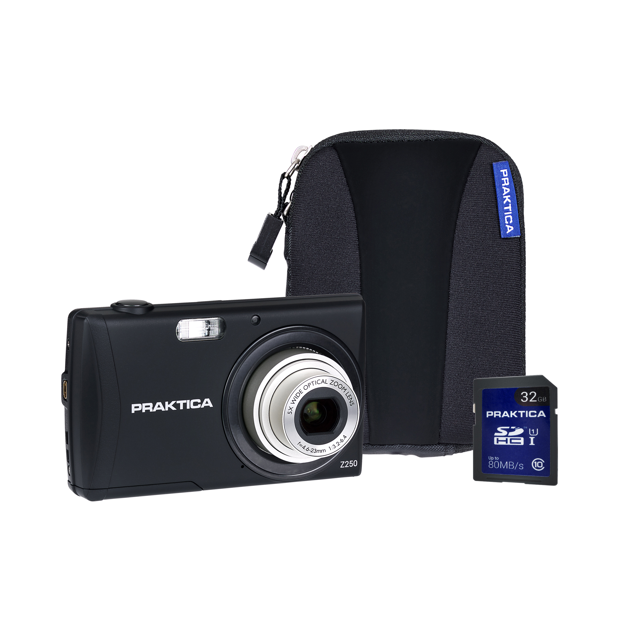 Cameras Praktica Z250 Digital Camera Kit 20MP HD Video Case and 32GB SD Card Black Ref PRA292