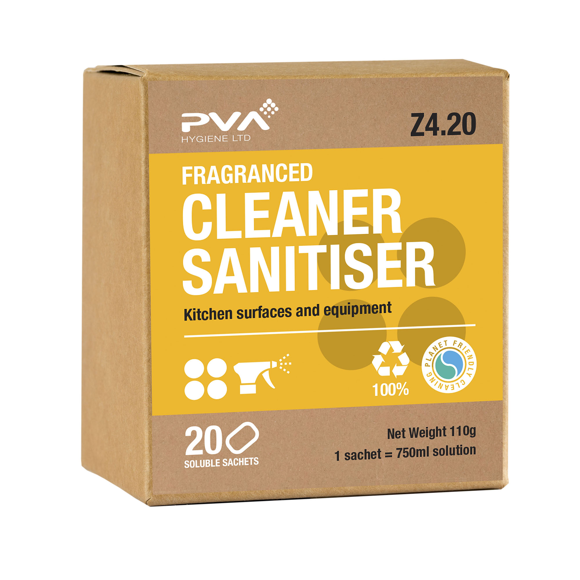 Multipurpose Cleaning PVA Cleaner Sanitiser Kitchen Surface & Equipment Sachets Ref 4017990 [Pack 20]
