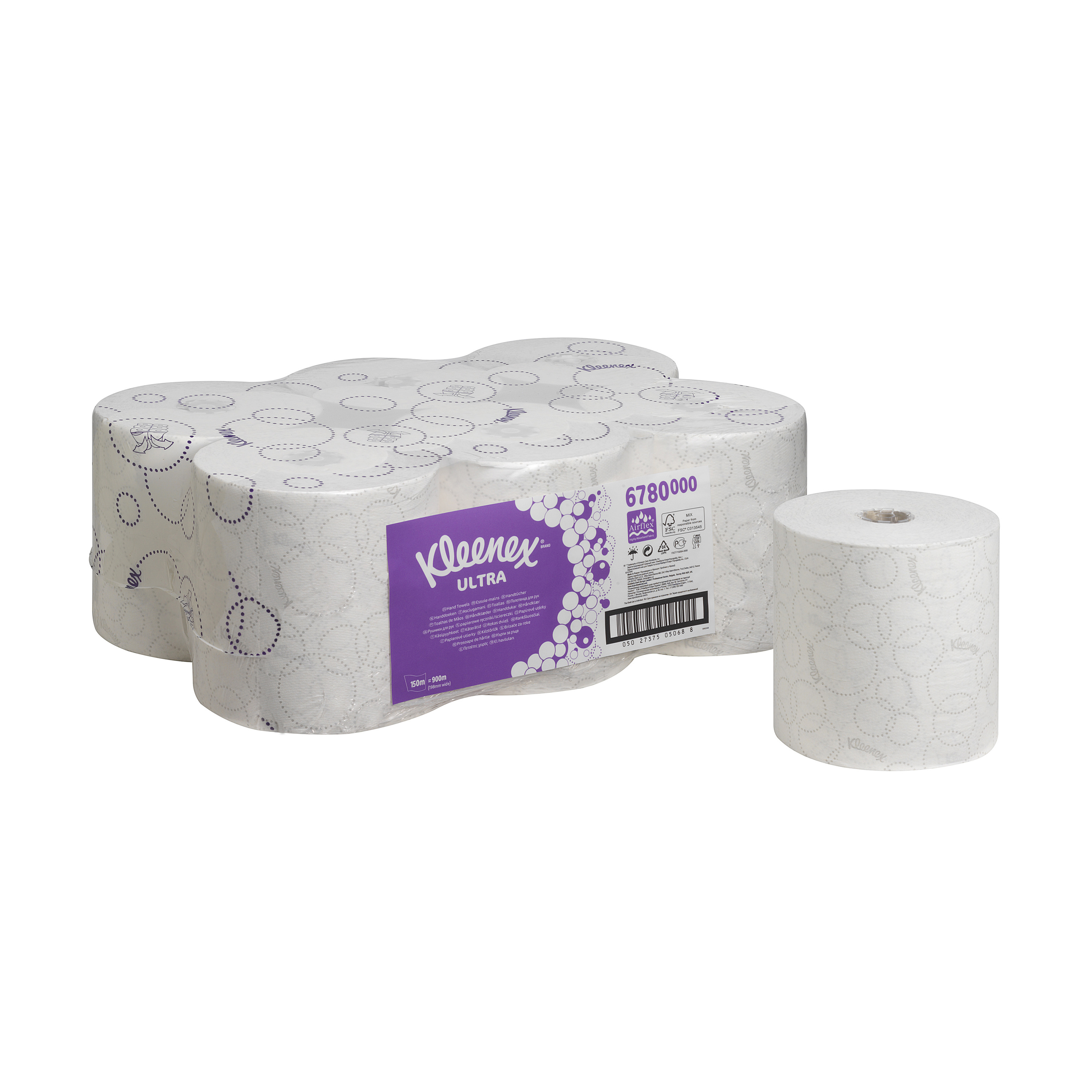 Kleenex 6780 Ultra Hand Towel Roll 150m 2-Ply White Ref 6780 [Pack 6]