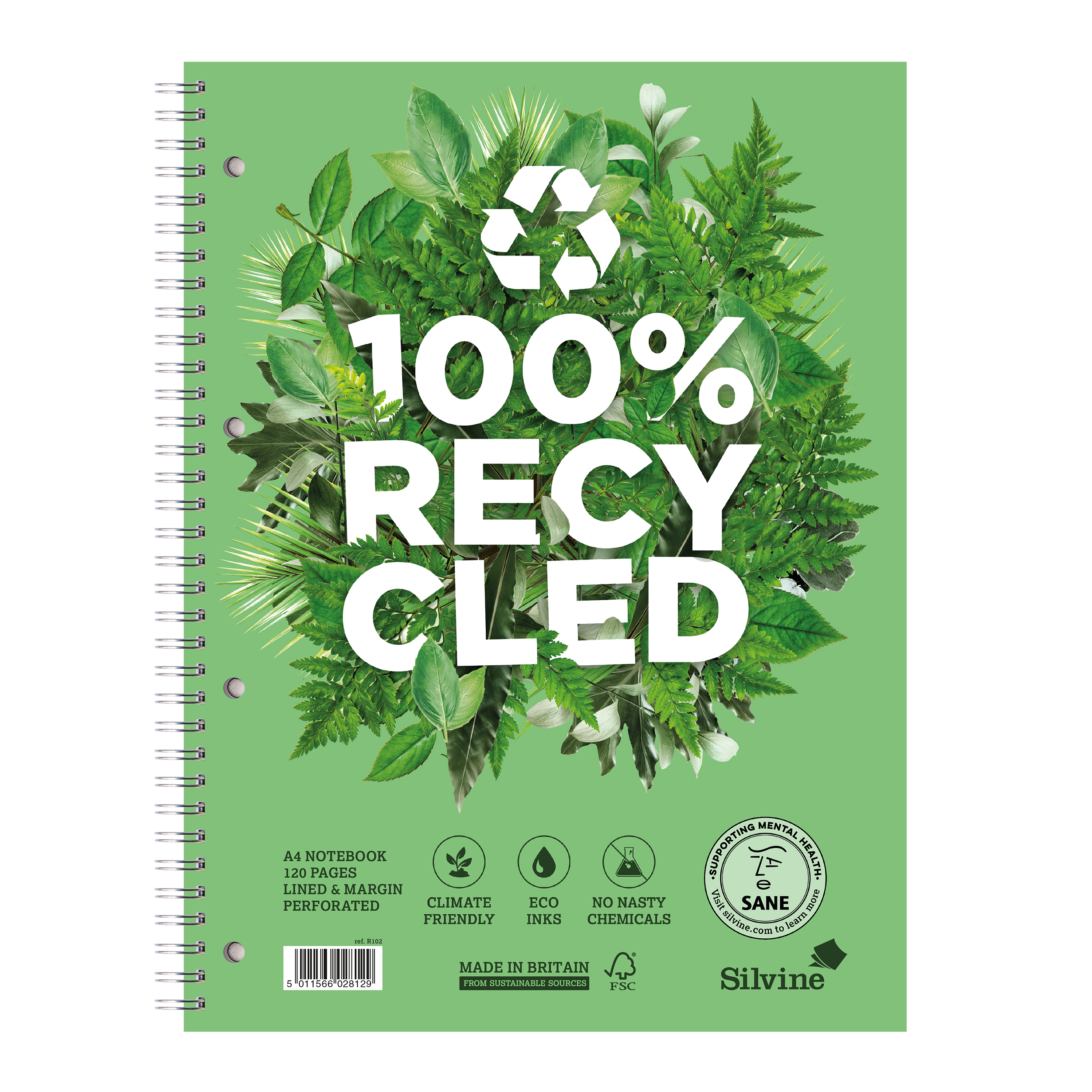 Paper pads or notebooks Silvine Premium Recycled Nbk Wirebnd 80gsm Ruled Margin Perf Punched 4 Holes 120pp A4+ Ref R102 Pack 5