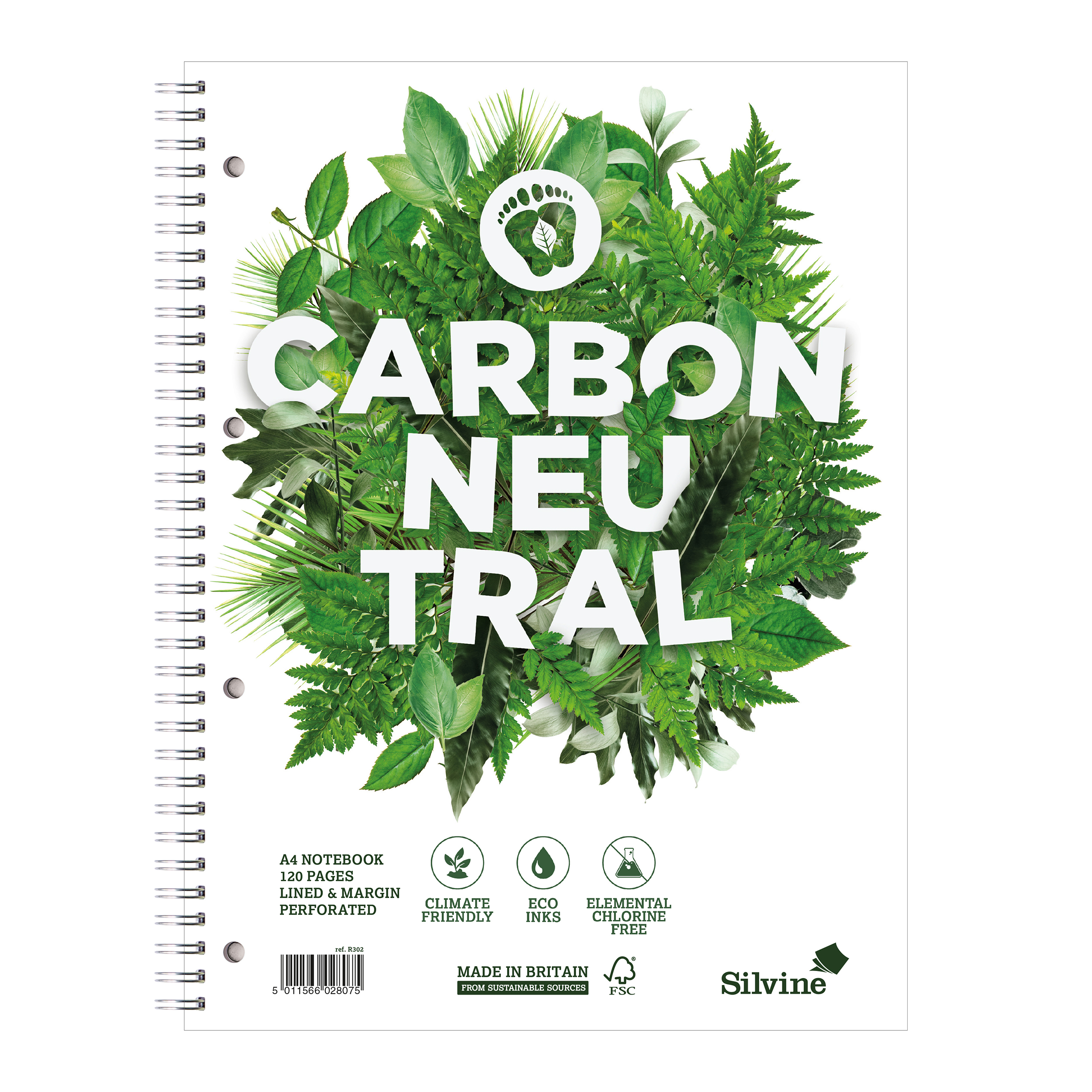 Paper pads or notebooks Silvine Notebook Carbon Ntral Wirebnd 80gsm Ruled Margin Perf Punched 4 Holes 120pp A4+ Ref R302 Pack 5