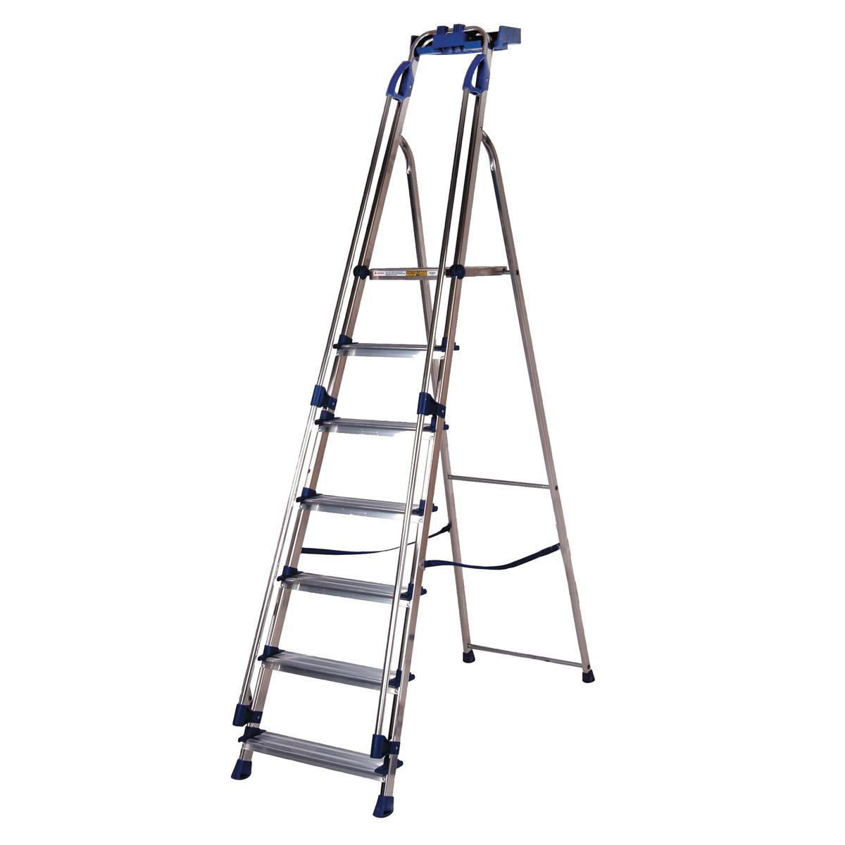 Steps Tradesman Platform Step Ladder 7 Steps Capacity 150kg Silver/Blue