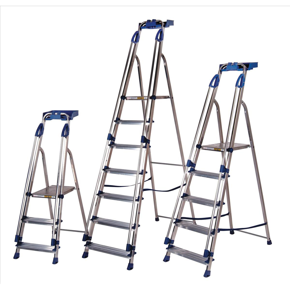 Steps Tradesman Platform Step Ladder 6 Steps Capacity 150kg Silver/Blue