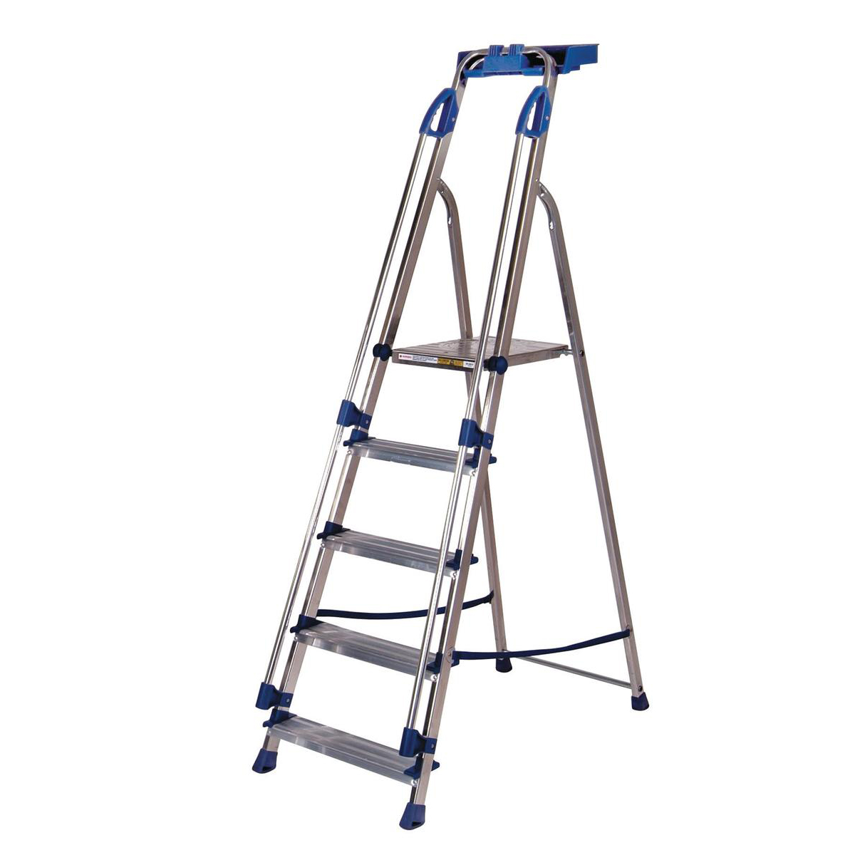 Image for Tradesman Platform Step Ladder 5 Steps Capacity 150kg Silver/Blue
