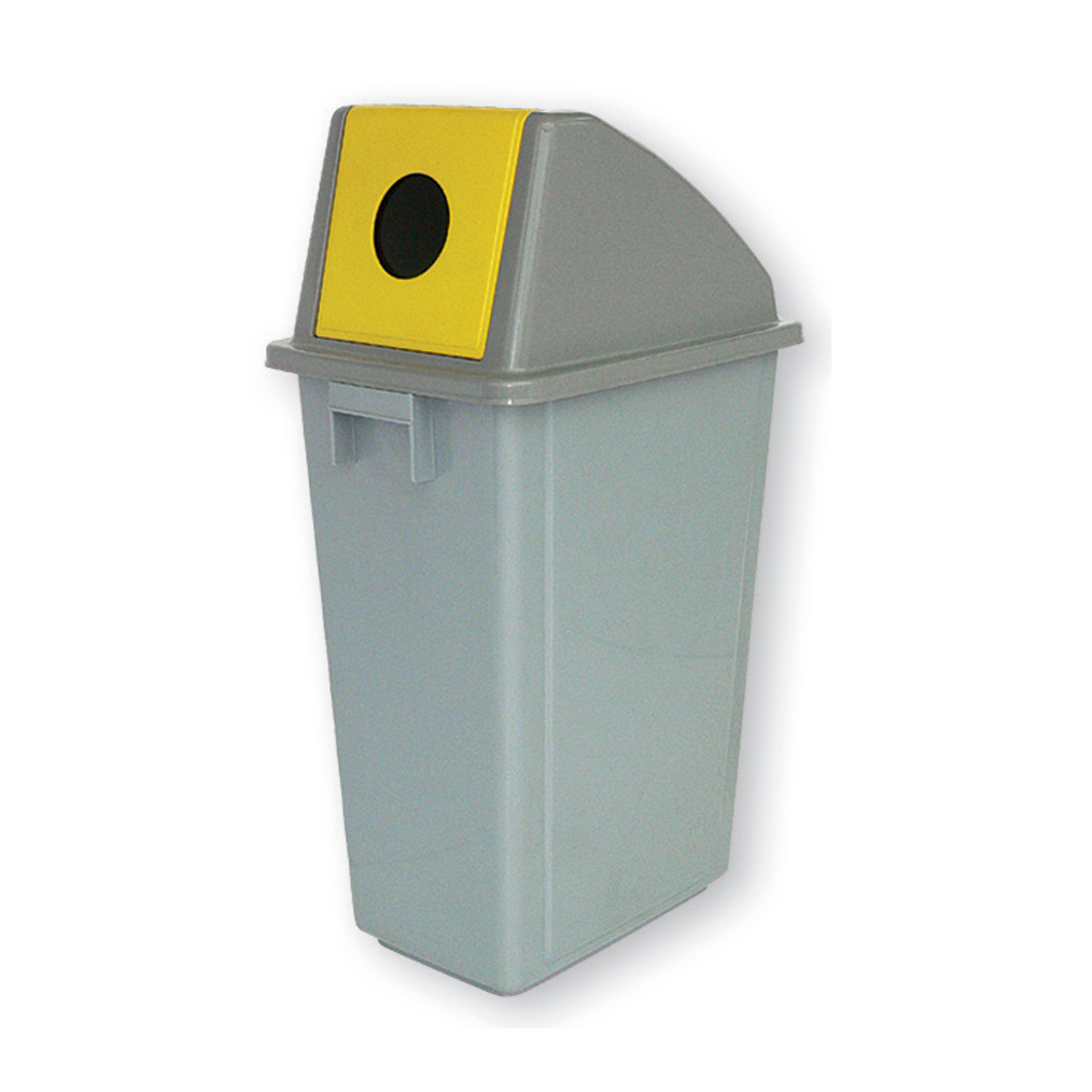 Recycling Bin for Bottles 60 Litre Capacity with Circular Slot 330x480x1190mm Grey/Yellow