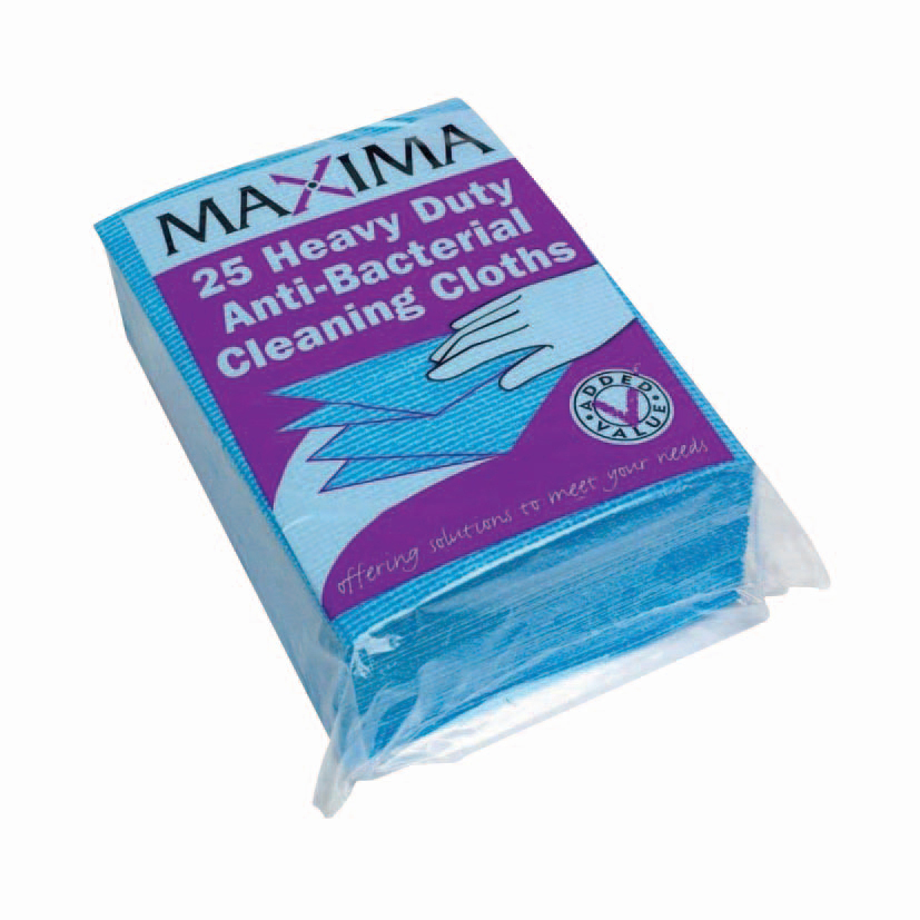 Maxima Envirowipe Plus Cleaning Cloth Anti-Bacterial Washable Blue Ref 0707005 [Pack 25]