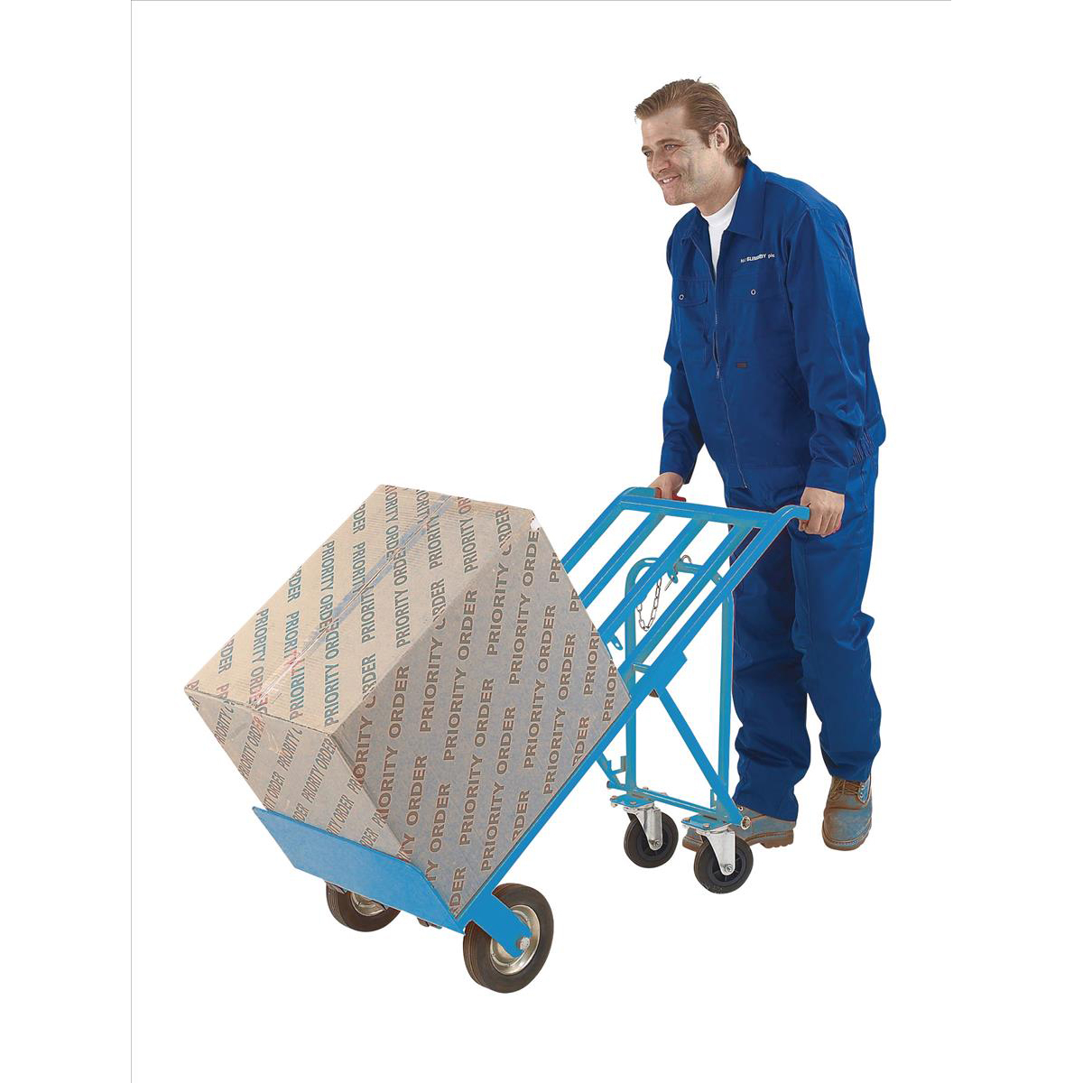 Hand Truck 3 Position Steel Frame Double Rear Castors Capacity 200kg Blue