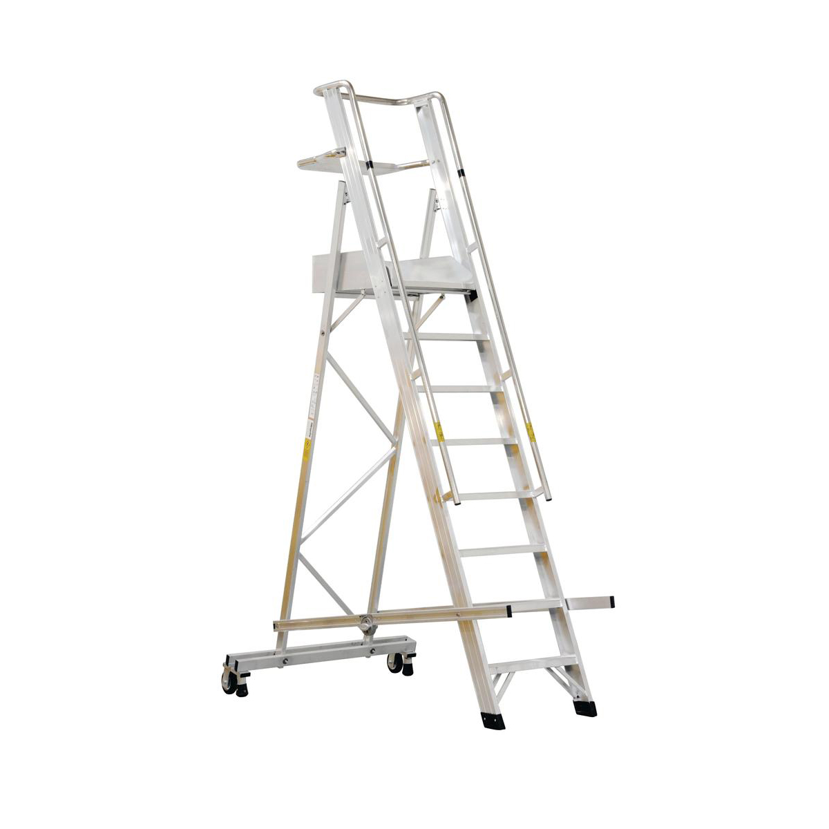 Platform Trucks Warehouse Ladder Mobile Folding 10 Tread Aluminium