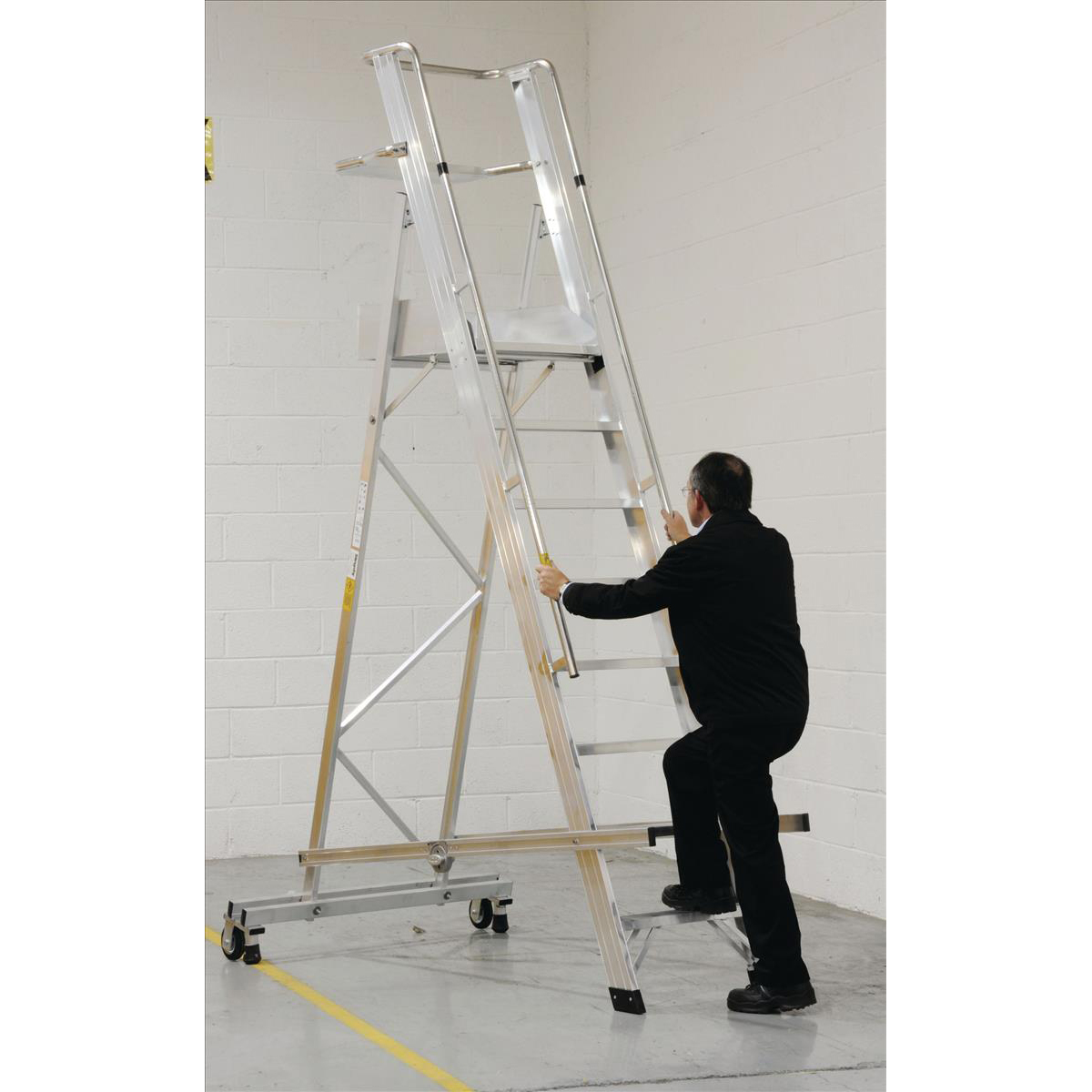 Warehouse Ladder Mobile Folding 10 Tread Aluminium