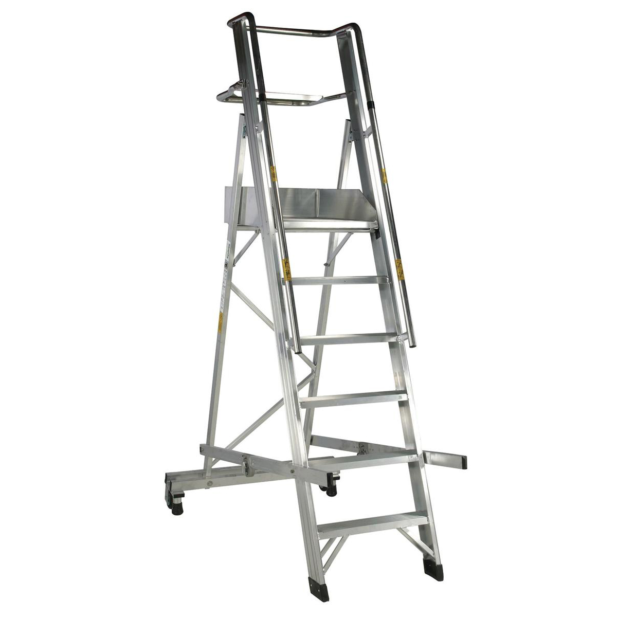Platform Trucks Warehouse Ladder Mobile Folding 6 Tread Aluminium