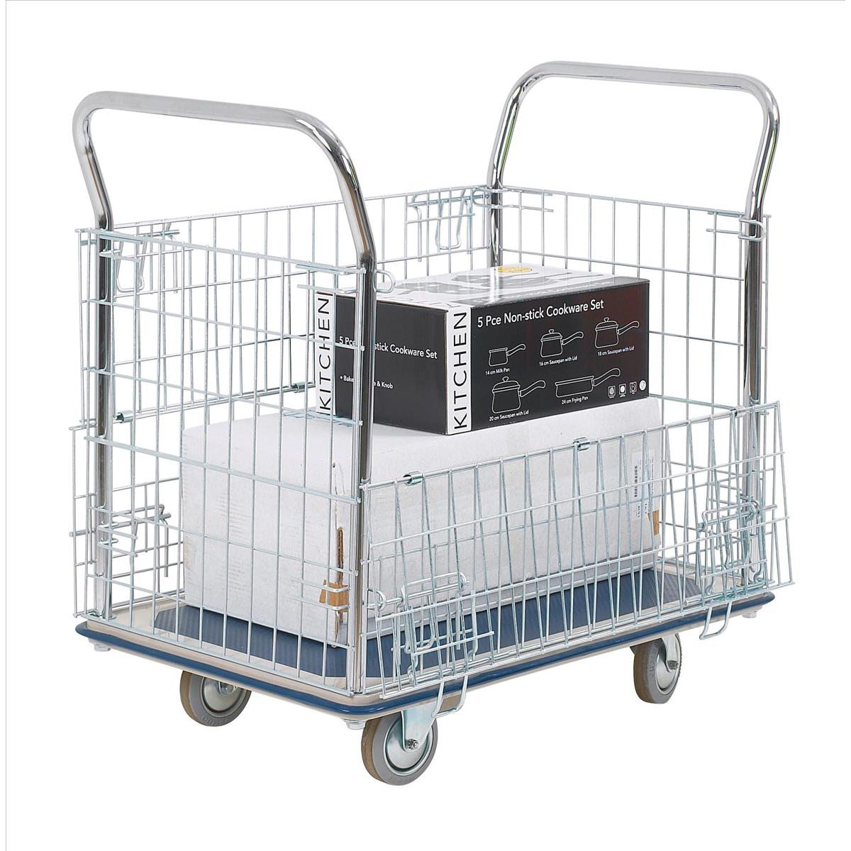 Platform truck Platform Trolley with Chrome Plated Mesh Panels Capacity 300kg 615x1000x950mm Silver