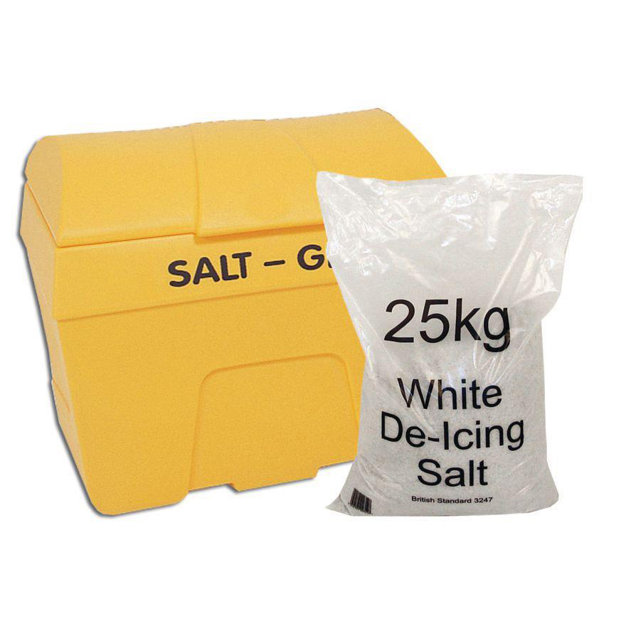 De-Icing Supplies Winter Kit Salt Bin Basic Kit Yellow 200 Litre with Salt Bag White 8 x 25kg