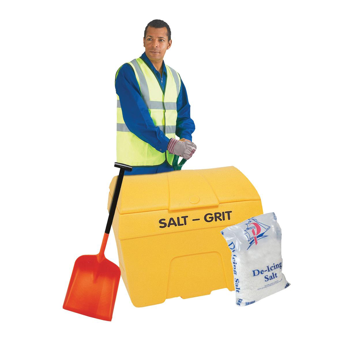 De-Icing Supplies Winter Kit Salt Bin Starter Kit Yellow 200 Litre with Salt Bag White 2 x 25kg Shovel Gloves Hi-Vis Jacket
