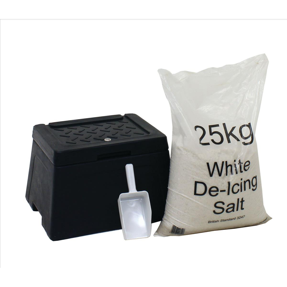 De-Icing Supplies Mini Grit Bin Lockable with Scoop and 25kg Salt Bag