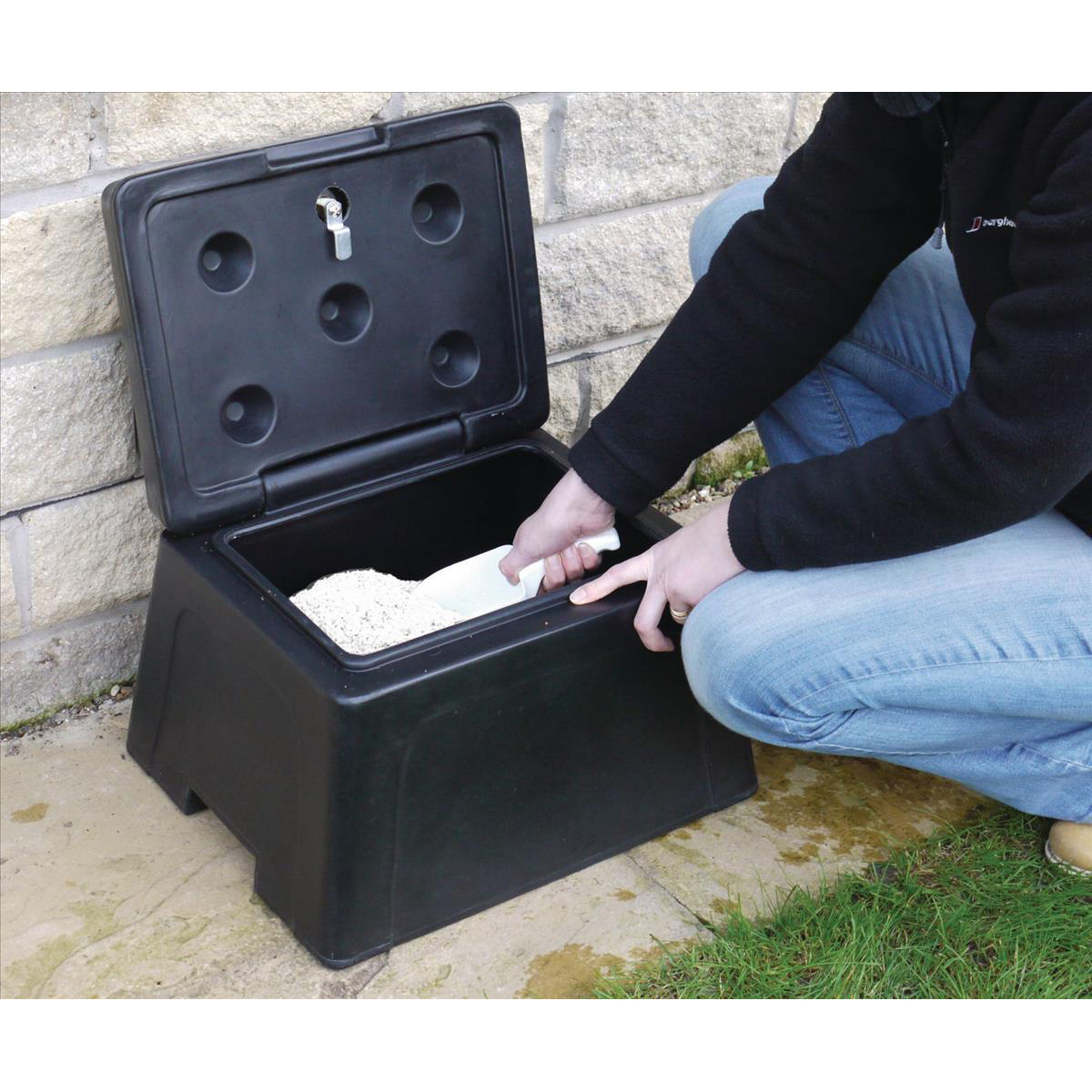Mini Grit Bin Lockable with Scoop and 25kg Salt Bag