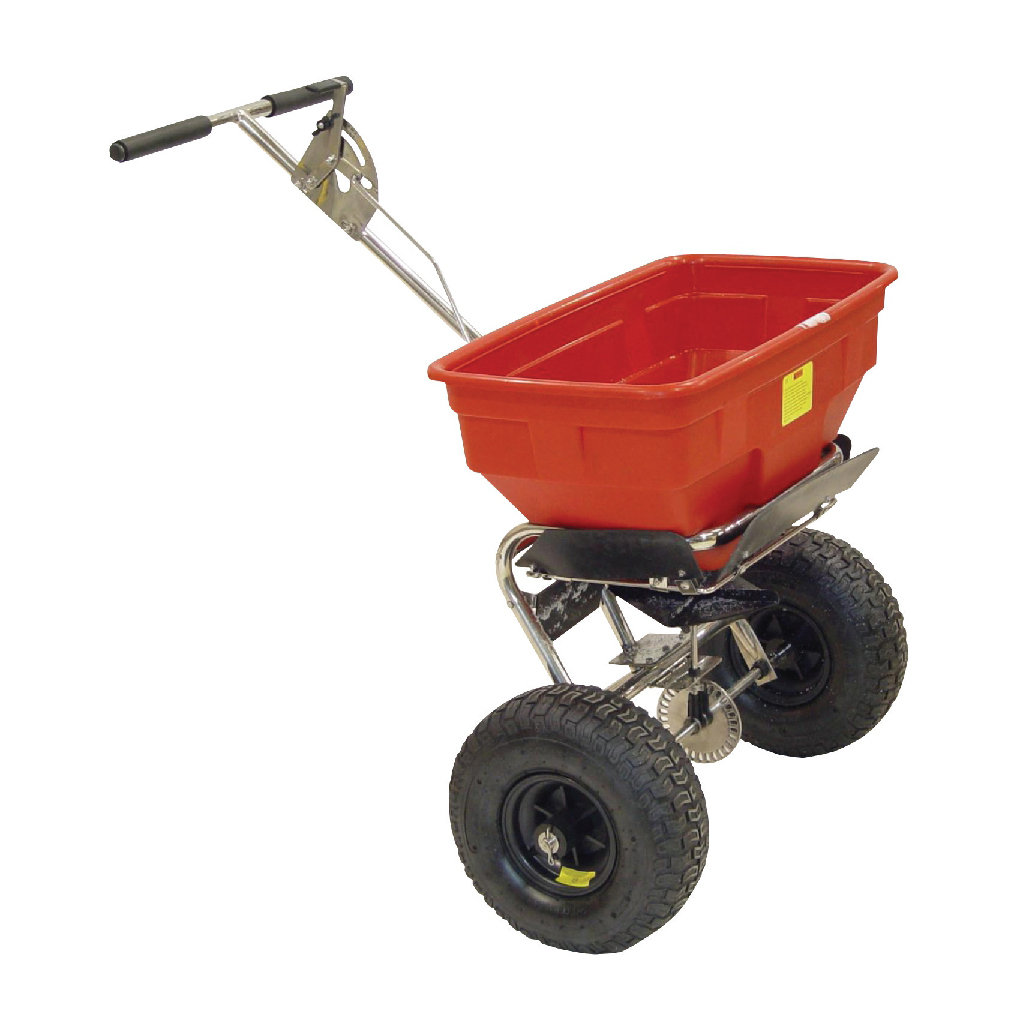 Salt Spreader Coverage 3m Capacity 57kg Pneumatic Tyres Rain Cover Hopper Screen