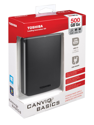 Toshiba Canvio Basics Hard Drive USB 3.0 and 2.0 Compatible 500GB Black Ref HDTB305EK3AA