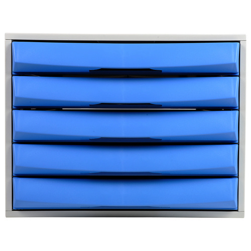 Exacompta Drawer Set Plastic Robust Stable Five Drawers A4 Plus Grey/Ice Blue