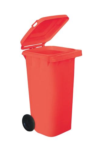 Wheelie Bin High Density Polythene with Rear Wheels 120 Litre Red