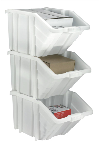 Storage Container Bin 50L 30kg Load W390xD630xH340mm White and Assorted Lids [Pack 4]