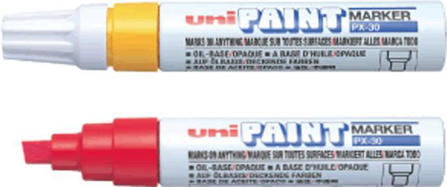 uni Paint Marker Chisel Tip Broad Point PX30 Line Width 4.0-8.5mm White Ref 151183000 [Pack 6]