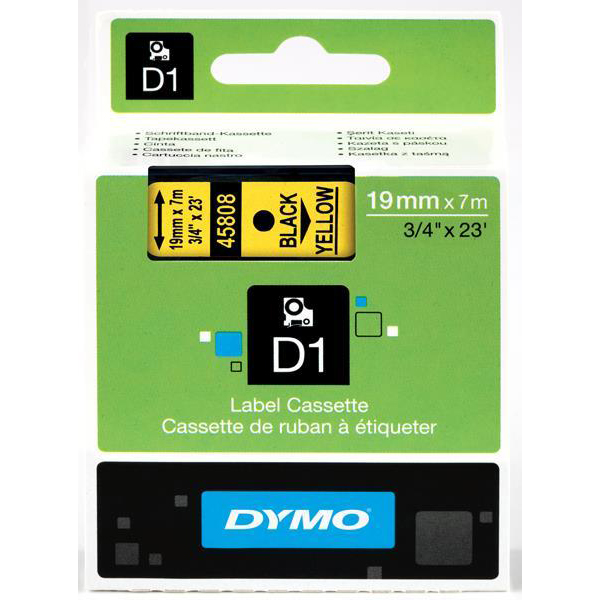 Labelling Tapes & Labels Dymo D1 Tape for Electronic Labelmakers 19mmx7m Black on Yellow Ref 4580845808 S0720880