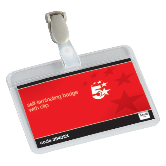 Holders 5 Star Office Name Badges Self Laminating Landscape with Plastic Clip 54x90mm Pack 25