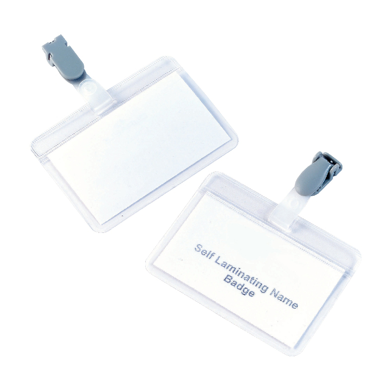 5 Star Office Name Badges Self Laminating Landscape with Plastic Clip 54x90mm Pack 25