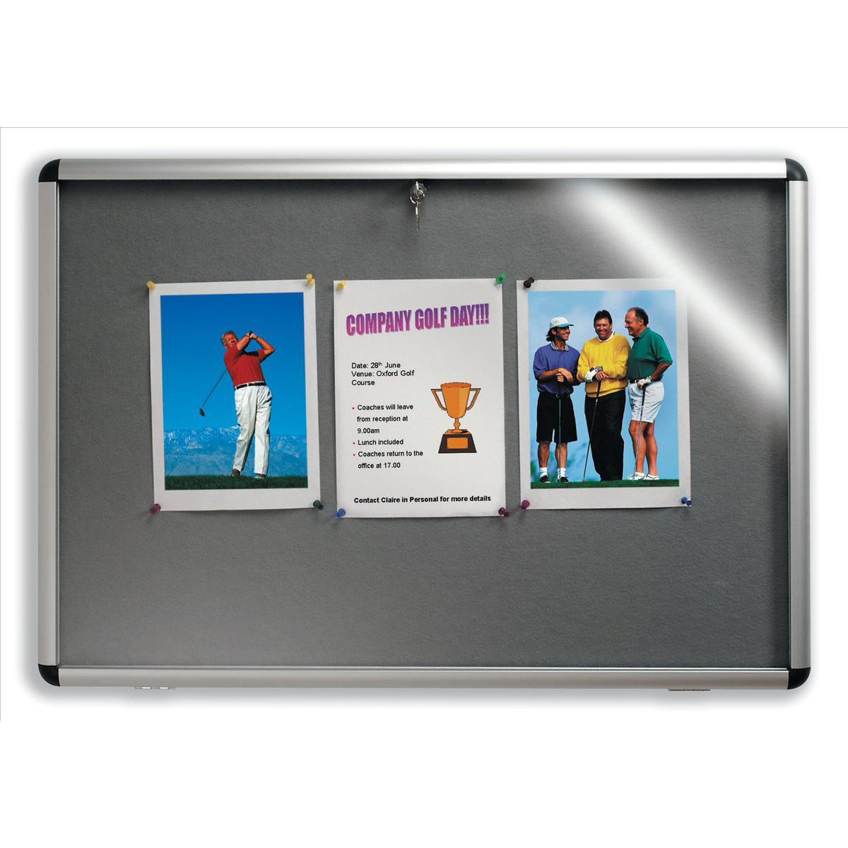Nobo Display Cabinet Noticeboard Visual Insert Lockable A1 W1025xH745mm Grey Ref 31333500