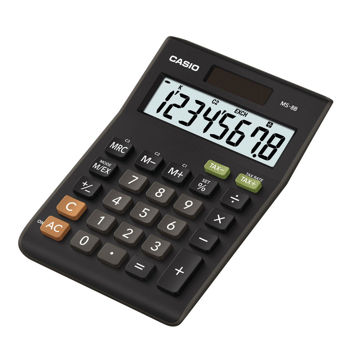 Desktop Calculator Casio Desktop Calculator 8 Digit 3 Key Memory Battery/Solar Power 103x28.8x147mm Black Ref MS-8TV/MS-8B