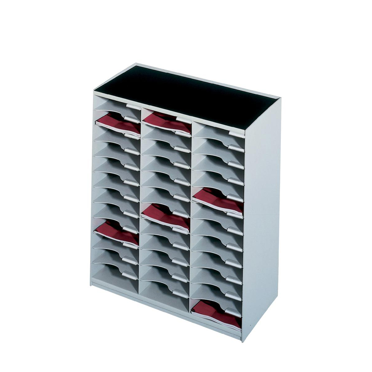 Mail sorters or organizers Paperflow Modulodoc Mailsorter Plastic Stackable 36x A4 Compartments W674xD308xH791mm Grey Ref 80302