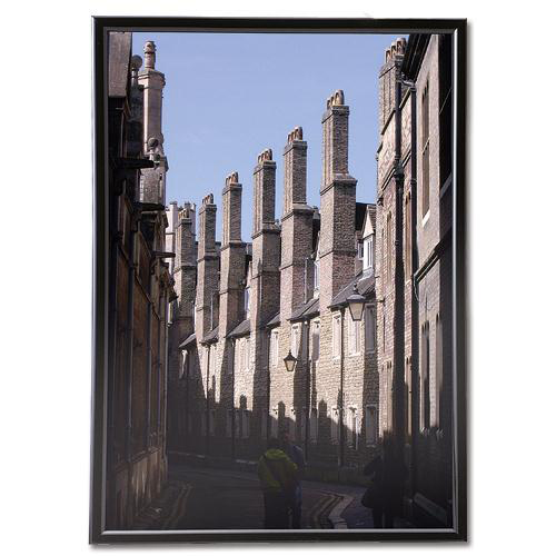 5 Star Facilities Snap Photo Frame with Non-glass Polystyrene Front Back-loading A4 220x17x307mm Black