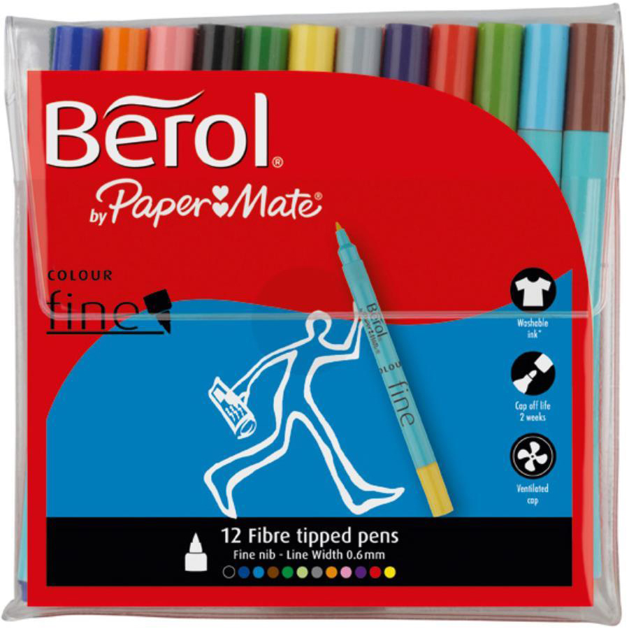 Colouring Pens Berol Colour Fine Pens with Washable Ink 0.6mm Line Wallet Assorted Ref 2057599 [Pack 12]