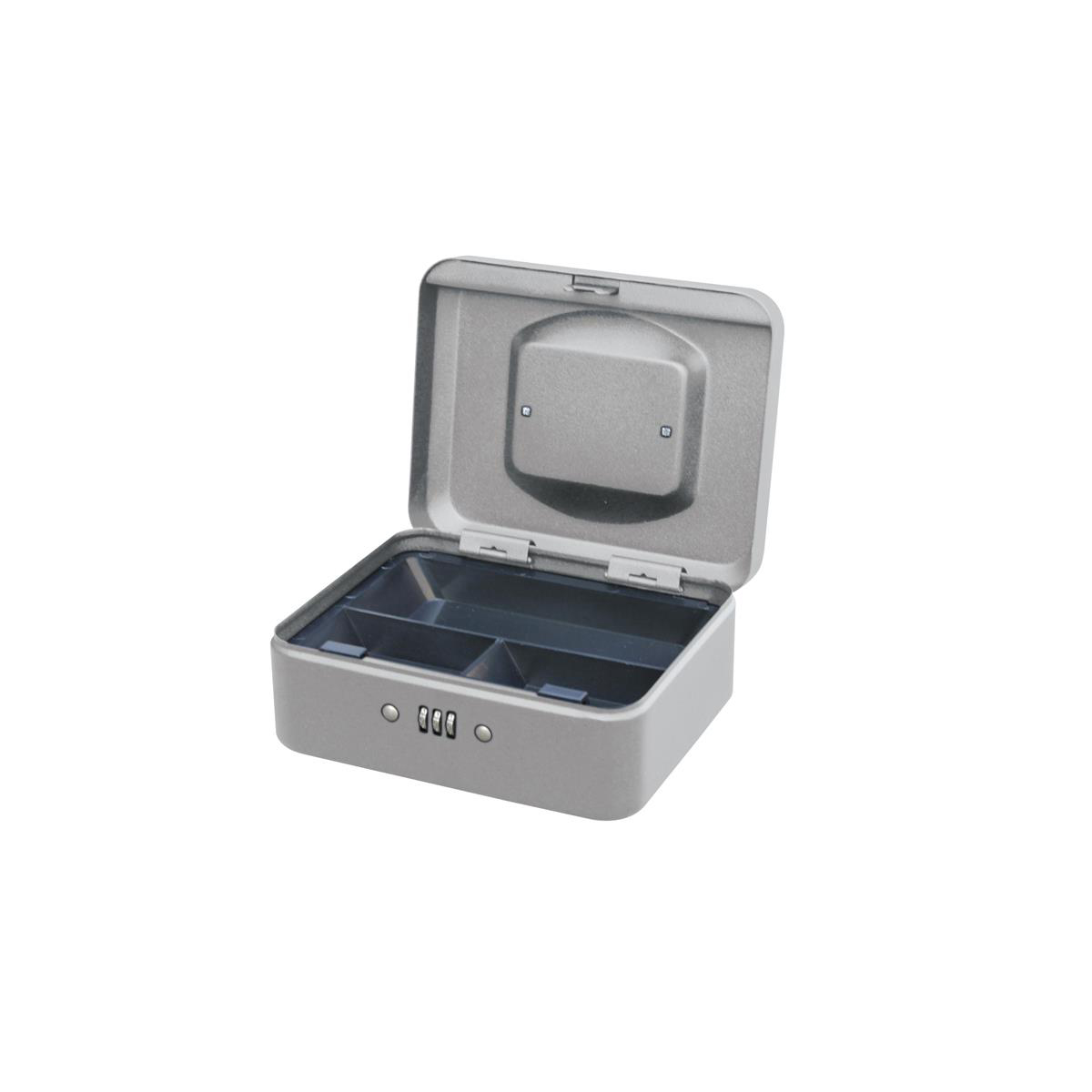 5 Star Facilities Premium Cash Box with Coin Tray Metal Combination Lock W200xD160xH90mm Grey