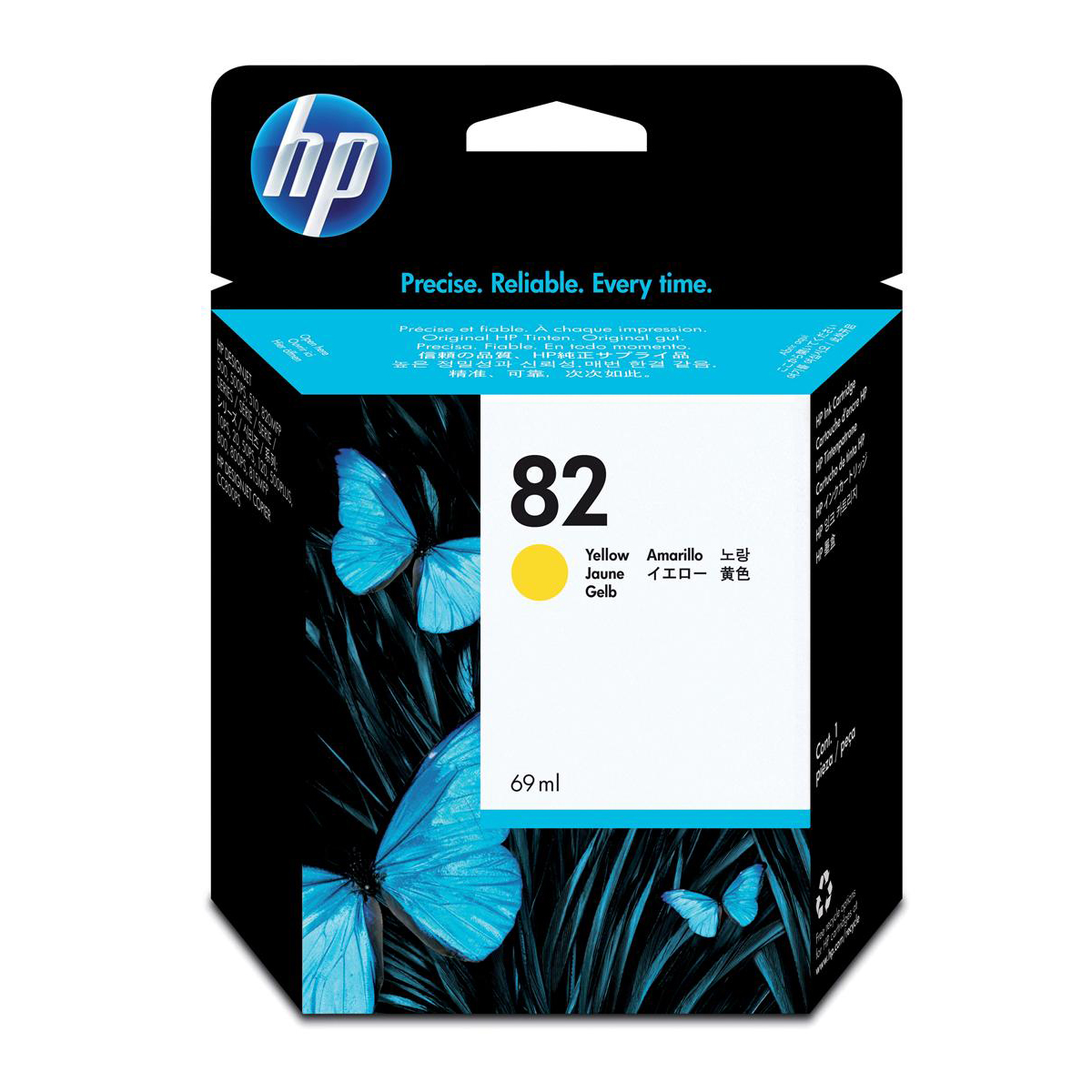Hewlett Packard HP No.82 Inkjet Cartridge High Yield Page Life 1430pp 69ml Yellow Ref C4913A