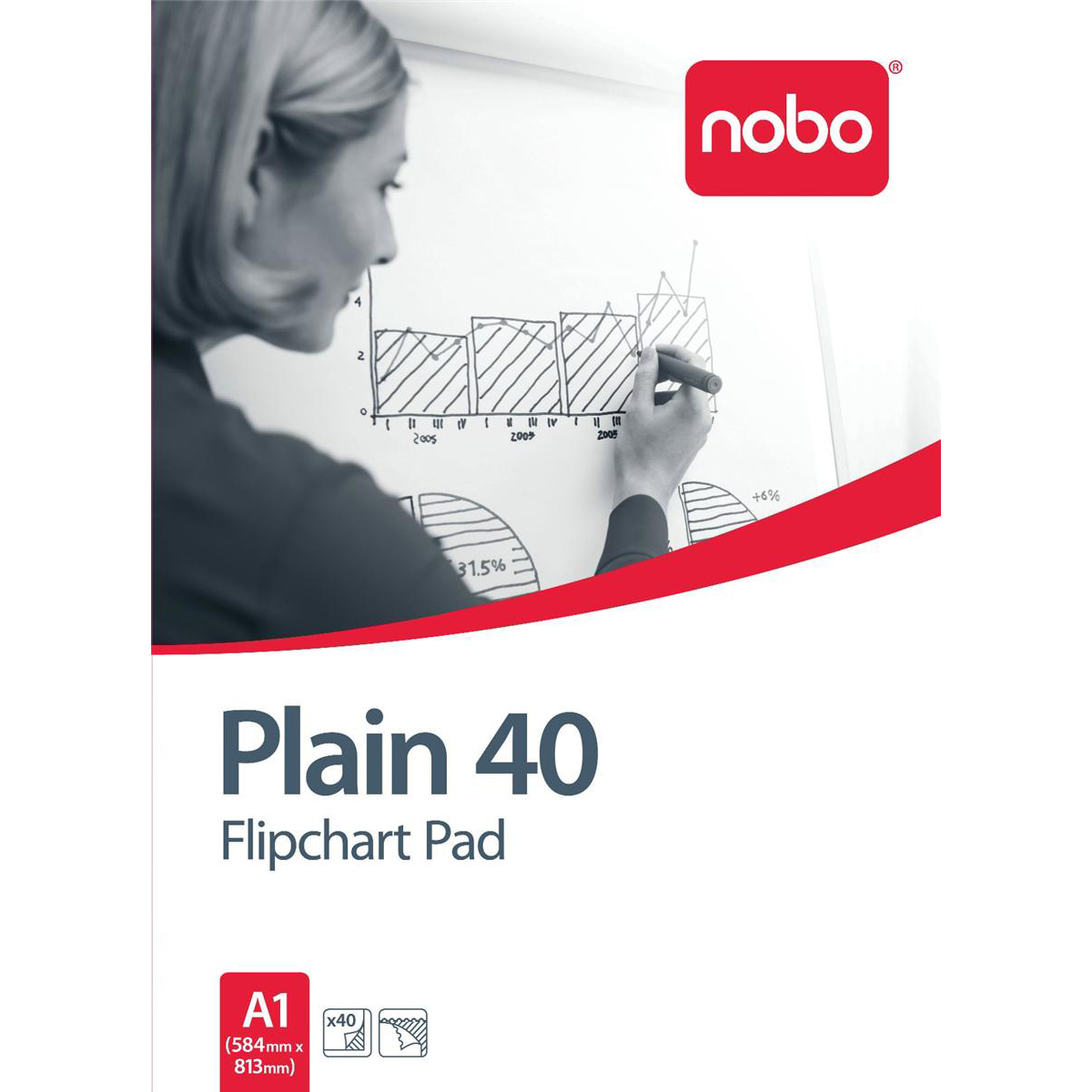 Nobo Flipchart Pad Perforated 40 Sheets 70gsm A1 Plain Ref 34631165 [Pack 5]