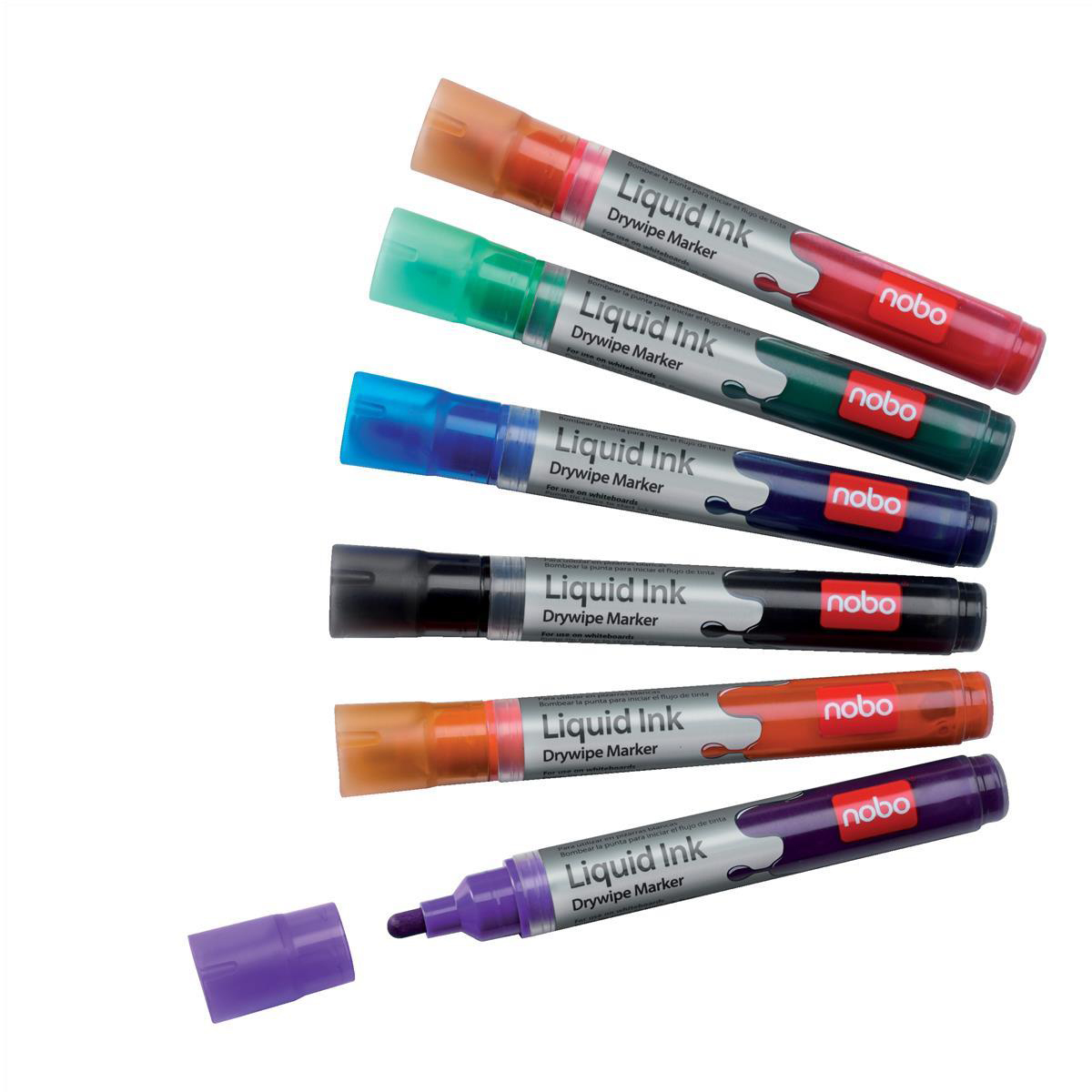 Nobo Marker Liquid Ink Dry-wipe W/bd/Flipchart/OHP Bullet Tip 3mm Line Assorted Ref 1901072 Pack 12