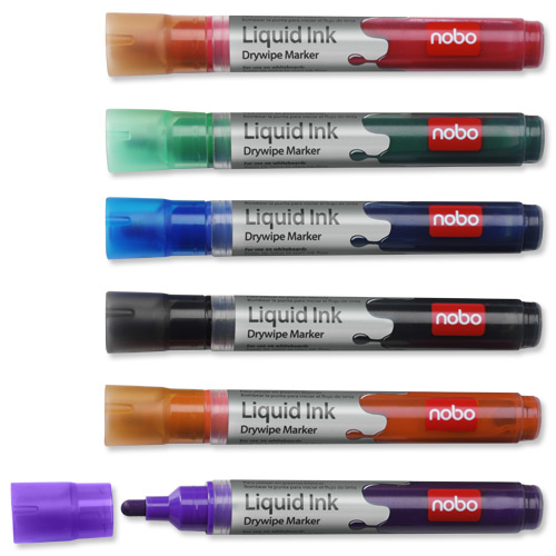 Nobo Marker Liquid Ink Dry-wipe W/bd/Flipchart/OHP Bullet Tip 3mm Line Assorted Ref 1901072 [Pack 12]