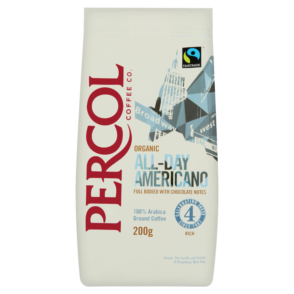 Coffee Percol Fairtrade All Day Americano Ground Coffee Organic Arabica High Roast 200g Ref 0403154
