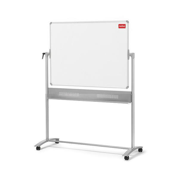Nobo Mobile Whiteboard Easel Magnetic Steel Horizontal Pivot W1200xH900mm Board Ref 1901029
